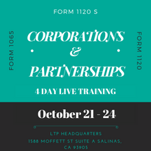 Load image into Gallery viewer, October 21 - 24, 2019 Live Partnership & Corporation Class