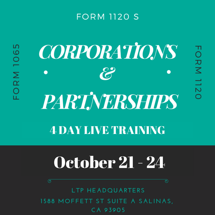 October 21 - 24, 2019 Live Partnership & Corporation Class