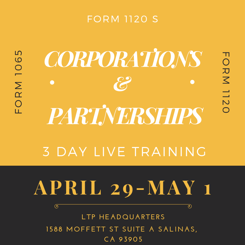 April 29 - May 1, 2019 Live Partnership & Corporation Class