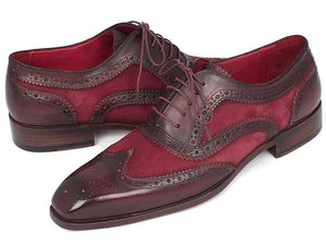 Men's Suede & Calfskin Men's Wingtip Oxfords Bordeaux (ID#228BRDSD)