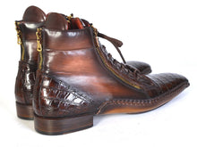 Load image into Gallery viewer, Paul Parkman Men's Genuine Crocodile & Calfskin Handmade Zipper Boots (ID#88CPK92)