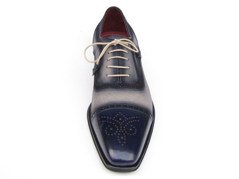 Paul Parkman Men's Captoe Oxfords - Navy / Beige Hand-Painted Suede Upper and Leather Sole (ID#024)