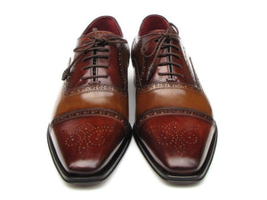 Paul Parkman Men's Captoe Oxfords - Camel / Red Hand-Painted Leather Upper and Leather Sole (ID#024)