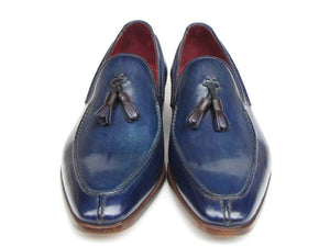 Paul Parkman Men's Tassel Loafer Blue Hand Painted Leather (ID#083)