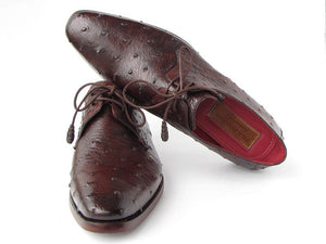 Paul Parkman Men's Brown Genuine Ostrich Derby Shoes (ID#33B76)