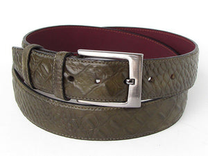 Crocodile Embossed Calfskin Leather Belt Hand-Painted Green