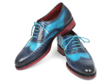 Load image into Gallery viewer, Paul Parkman Men's Two Tone Wingtip Oxfords Blue & Turquoise (ID#27TQ88)