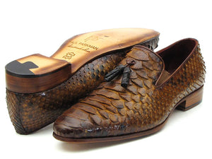 Paul Parkman Men's Genuine Python Tassel Loafers Camel (ID#26CML75)