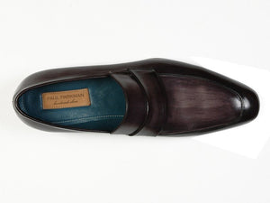 Paul Parkman Men's  Loafer Black & Gray Hand-Painted Leather Upper with Leather Sole (ID#093)