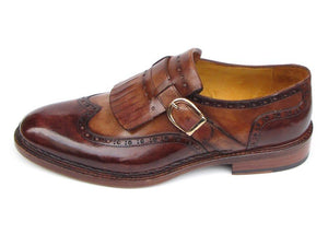 Paul Parkman Men's Wingtip Monkstrap Brogues Brown Hand-Painted Leather Upper With Double Leather Sole (ID#060)
