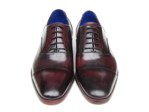 Paul Parkman Men's Captoe Oxfords Black Purple Shoes (ID#074)