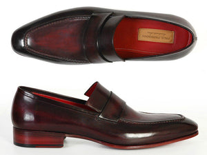 Paul Parkman Men's  Loafer Purple & Black Hand-Painted Leather Upper with Leather Sole (ID#093)