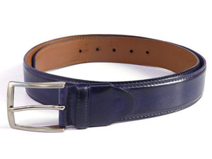 Men's Leather Belt Hand-Painted Navy