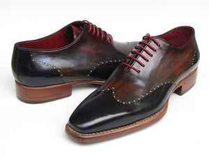 Paul Parkman Men's  Wingtip Oxford Goodyear Welted Navy Red Black (ID#081)