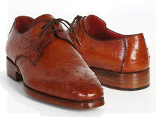 Load image into Gallery viewer, Paul Parkman Men's Tobacco Color Genuine Ostrich Leather Upper Derby Shoes (ID#33B76)