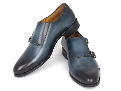Men's Navy Double Monkstrap Shoes (ID#HT54-NAVY)