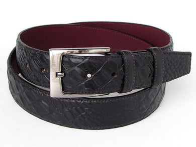 Men's Crocodile Embossed Calfskin Leather Belt Hand-Painted Black