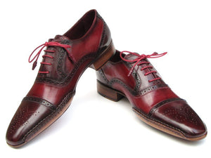 Paul Parkman Men's Side Handsewn Captoe Oxfords - Red / Bordeaux Leather Upper and Leather Sole (ID#5032)