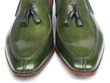 Load image into Gallery viewer, Paul Parkman Men's Tassel Loafer Green Hand Painted Leather (ID#083)