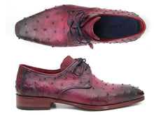 Load image into Gallery viewer, Paul Parkman Men's Lilac Genuine Ostrich Derby Shoes (ID#66CC44)