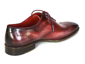 Paul Parkman Men's Wintip Oxfords Burgundy Handpainted Calfskin (ID#741-BUR)