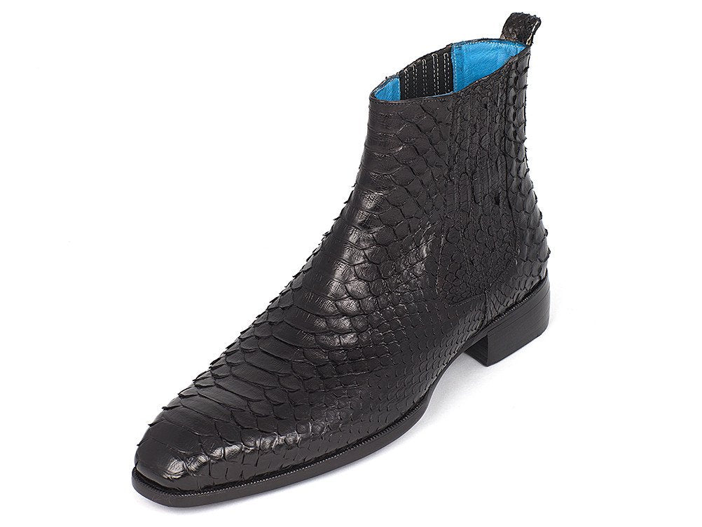 25c04ee4c53 Load image into Gallery viewer, Men's Black Python Chelsea Boots ...
