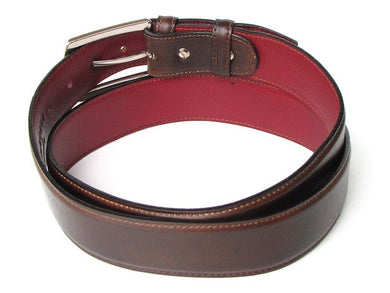 Men's Leather Belt Hand-Painted Brown