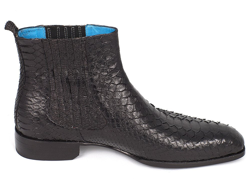 5ed0d5a6ac5 ... Load image into Gallery viewer, Men's Black Python Chelsea Boots ...