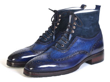 Load image into Gallery viewer, Paul Parkman Men's Wingtip Boots Blue Suede & Leather (ID#971-BLU)