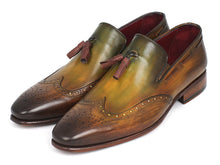 Load image into Gallery viewer, Paul Parkman Men's Wingtip Tassel Loafers Green (ID#WL34-GRN)