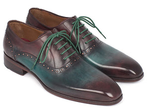 Men's Green & Bordeaux Plain Toe Oxfords (ID#GH88BB)