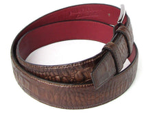Load image into Gallery viewer, Men's Crocodile Embossed Calfskin Leather Belt Hand-Painted Brown