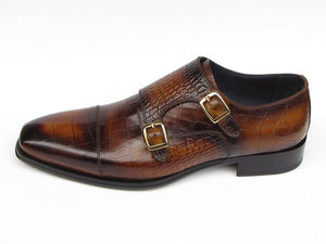 Paul Parkman Men's  Brown Crocodile Embossed Calfskin Double Monkstrap (ID#045)