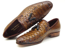 Load image into Gallery viewer, Paul Parkman Men's Genuine Python Tassel Loafers Camel (ID#26CML75)