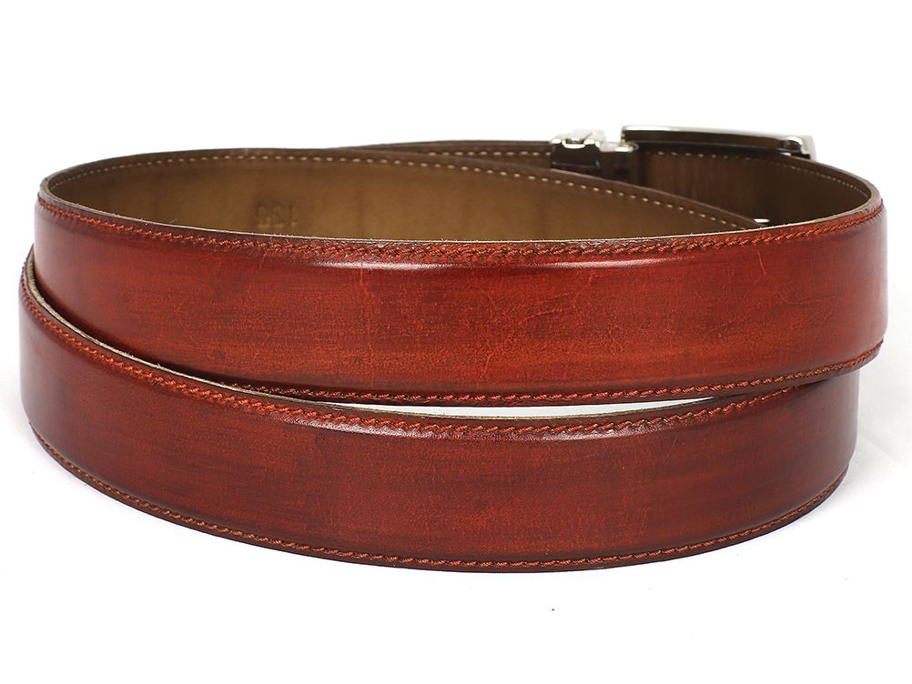 PAUL PARKMAN Men's Leather Belt Hand-Painted Reddish Brown (ID#B01-RDH)