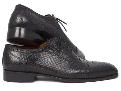 Paul Parkman Black Genuine Python Captoe Oxfords (ID#PT246BLK)