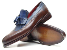 Load image into Gallery viewer, Paul Parkman Men's Kiltie Tassel Loafer Dark Brown & Navy (ID#KT44BN)