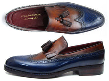 Load image into Gallery viewer, Paul Parkman Men's Kiltie Tassel Loafer Navy & Tobacco (ID#KT74NB)