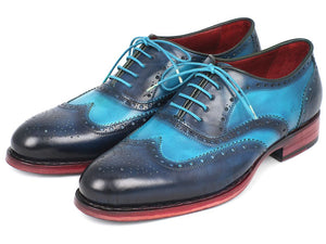 Paul Parkman Men's Two Tone Wingtip Oxfords Blue & Turquoise (ID#27TQ88)