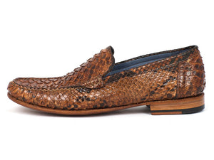 Paul Parkman Men's Genuine Python Moccasins Brown & Tobacco (ID#YL41UT)