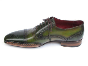 Paul Parkman Men's Side Handsewn Captoe Oxfords - Green / Yellow Leather Upper and Leather Sole (ID#5032)