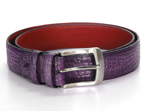 Crocodile Embossed Calfskin Leather Belt Hand-Painted Purple