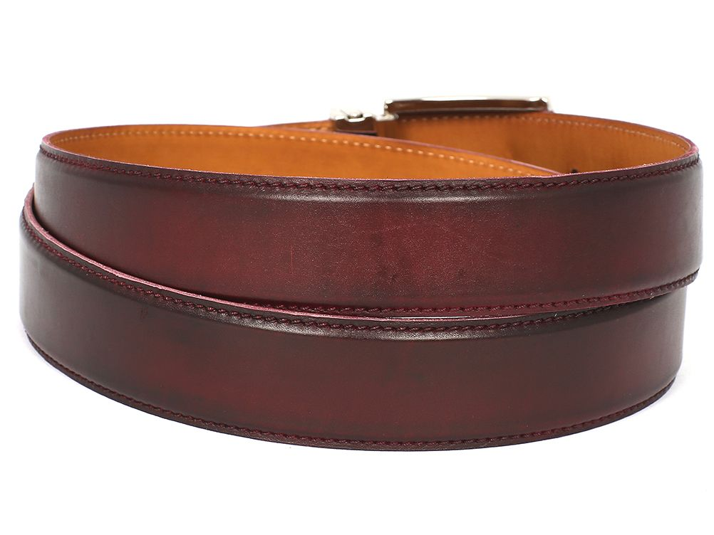 PAUL PARKMAN Men's Leather Belt Hand-Painted Dark Bordeaux (ID#B01-DARK-BRD)