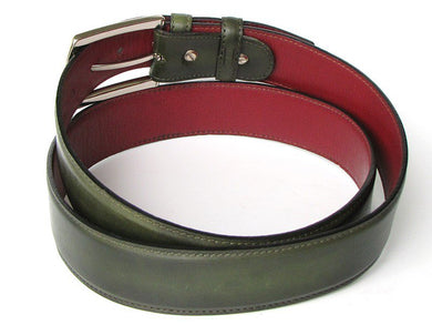 Men's Leather Belt Hand-Painted Dark Green