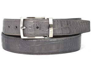 PAUL PARKMAN Men's Crocodile Embossed Calfskin Leather Belt Hand-Painted Gray (ID#B02-GRY)