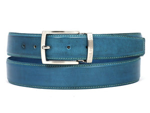 PAUL PARKMAN Men's Leather Belt Hand-Painted Sky Blue (ID#B01-SKYBLU)