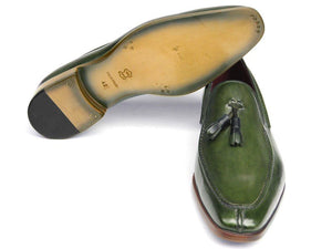 Paul Parkman Men's Tassel Loafer Green Hand Painted Leather (ID#083)