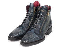 Load image into Gallery viewer, Men's Navy Genuine Crocodile & Calfskin Side Zipper Boots (ID#41CNV62)