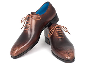 Men's Camel & Brown Wholecut Oxfords (ID#KR254CML)