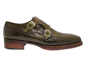 Paul Parkman Men's Double Monkstrap Goodyear Welted Shoes Green (ID#061)